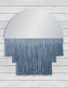 Large Boho Mirror with Silver Fringe