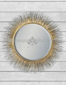 Gold Round Metal Spine Framed Wall Mirror