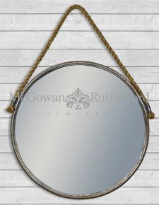 Rustic Metal Extra Large Mirror with Rope