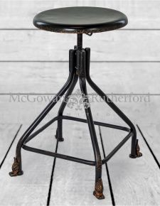 "Black Metal ""Verne"" Round Stool *CLEARANCE ITEM*"