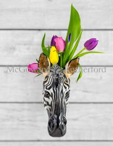 Ceramic Zebra Head Wall Sconce Vase