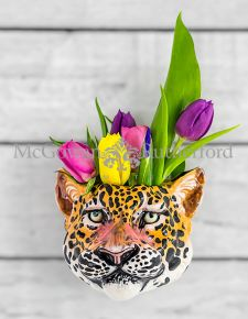 Ceramic Leopard Head Wall Sconce Vase