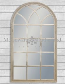 Large French Grey Arch Window Mirror