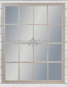 Large French Grey Rectangular Window Mirror