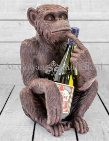 Antiqued Bronze Sitting Monkey Figure/Bottle Holder