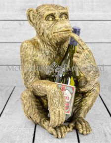 Antiqued Gold Sitting Monkey Figure/Bottle Holder