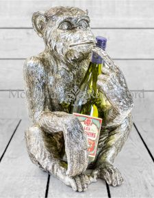 Antiqued Silver Sitting Monkey Figure/Bottle Holder