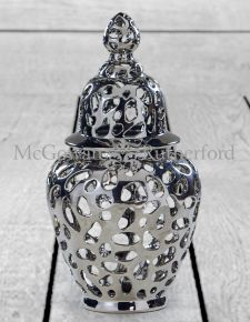 Large Silver Pierced Jar with Lid