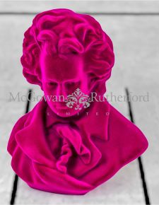 Bright Pink Flock Beethoven Bust