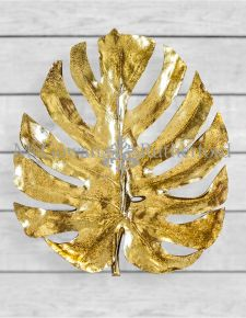 Metallic Gold Monstera Leaf Wall Plaque