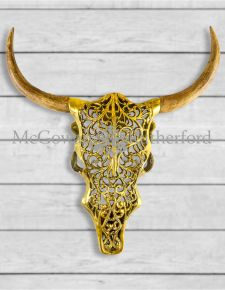 Antique Gold Aluminium and Wood Tribal Bison Wall Head