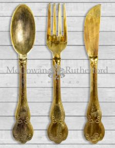 Antique Gold Aluminium Fork, Knife & Spoon Set Wall Hangings