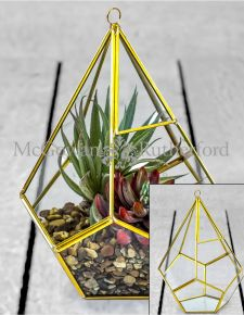 Large Gold Metal and Glass Terrarium