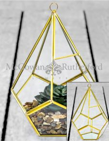 Medium Gold Metal and Glass Terrarium