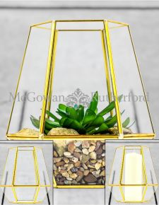 Medium Gold Metal and Glass Candle Holder/ Planter