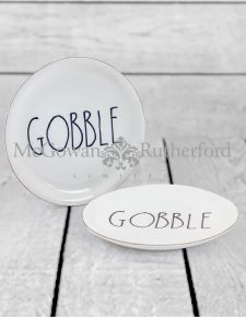"Set of 2 Round Ceramic ""Gobble"" Plates"