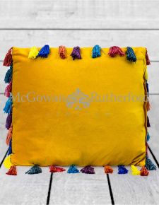 "Mustard Yellow Large Square Velvet ""Arco Iris"" Tassel Cushion"