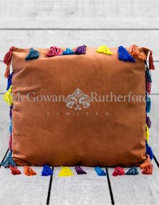 "Terracotta Large Square Velvet ""Arco Iris"" Tassel Cushion"