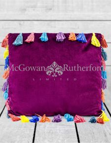 "Aubergine Purple Large Square Velvet ""Arco Iris"" Tassel Cushion"