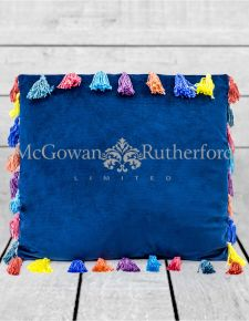 "Navy Blue Large Square Velvet ""Arco Iris"" Tassel Cushion"