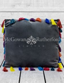 "Stone Grey Large Square Velvet ""Arco Iris"" Tassel Cushion"