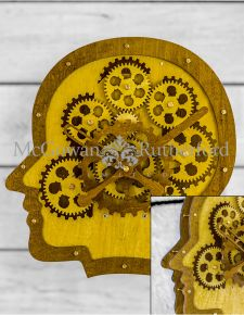 Wooden Head Moving Gears Wall Clock