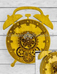 Wooden Alarm Clock Style Moving Gears Wall Clock