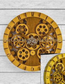 Wooden Moving Gears Wall Clock