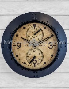 "Antique Black Framed ""Flight Hours"" Aviation Wall Clock"