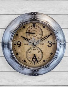 "Antique Silver Framed ""Flight Hours"" Aviation Wall Clock"
