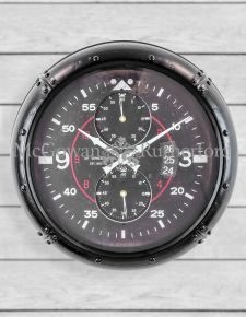 Antique Black Framed Aviation Instrument Wall Clock
