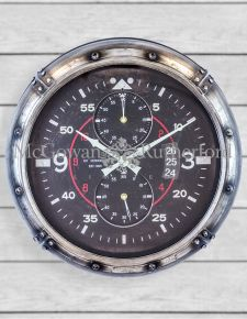 Antique Silver Framed Aviation Instrument Wall Clock
