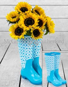 Pale Blue Pair of Welly Boots Vase *CLEARANCE ITEM*