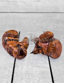 Pair of Antiqued Leather Effect Boxing Glove Ornaments