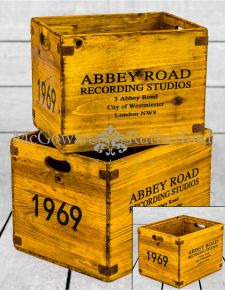 "Set of 2 Antiqued Wooden ""Abbey Road"" LP Record Storage Boxes"
