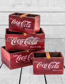 Set of 4 Antiqued Wooden Cola Storage Boxes
