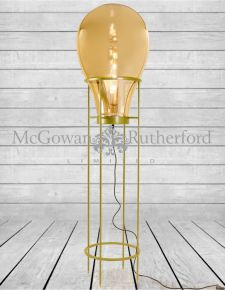 Large Gold Glass Edison Lamp on Gold Floor Stand (LED Bulb Included)