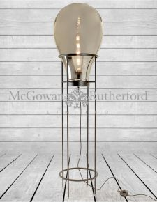 Large Smoked Glass Edison Lamp on Black Floor Stand (LED Bulb Included)