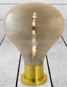 Large Smoked Glass Edison Table Lamp on Brass Base (LED Bulb Included)