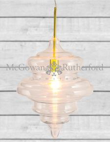 Large Shaped Glass Ceiling Pendant with Brass Fittings