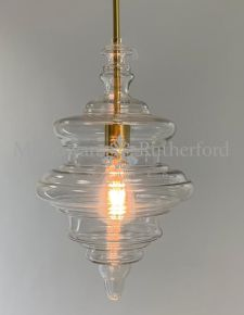 Small Shaped Glass Ceiling Pendant with Brass Fittings
