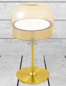 Brass with Gold Glass Domed Desk Lamp (Built in LED bulbs)