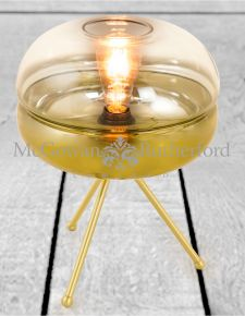 Brass Tripod Table Lamp with Gold Gradient Glass Shade