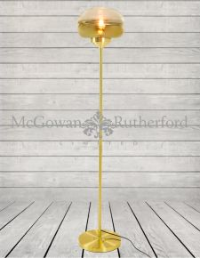 Brass Floor Lamp with Gold Gradient Glass Shade