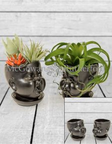 Set of 2 Black Ceramic Baby Face Pots/Vases