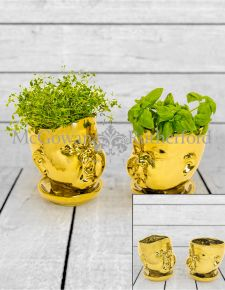 Set of 2 Gold Plated Ceramic Baby Face Pots/Vases