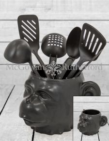 Black Ceramic Monkey Face Pot/Vase