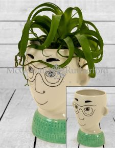 Ceramic Doodle Man's Face Vase - Glasses