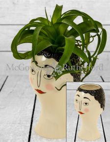 Ceramic Doodle Woman's Face Vase - Blush