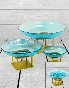 Set of 3 Deco Blue Glass Bowls on Gold Stands